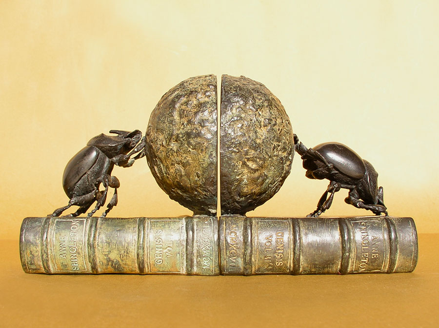 Dung-beetle bookends - bronze